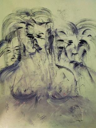 """""""Le bambole di Dresda"""" acrilico su tela 80x100 - 2011 Graziano Rey"""
